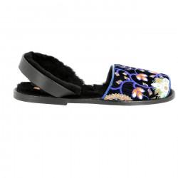 Avarca Velvet Fairbanks Marine/Leather sole