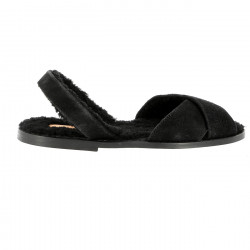 Avarca Sheepskin Anchorage Negro/Leather sole
