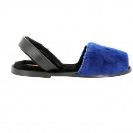 Avarca Mouton Alaska Bleu/Semelle cuir