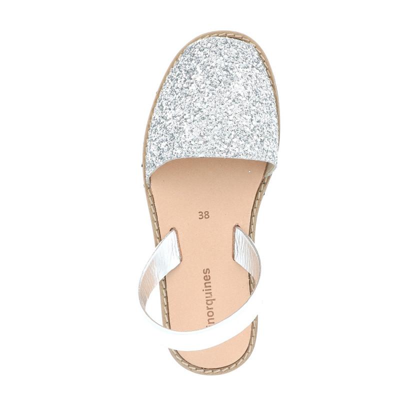 17f9de5b04b Sandalias de lentejuelas plata para mujer - Avarcas Lentejuelas Plata