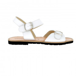 Avarca Buckle Leather Blanco