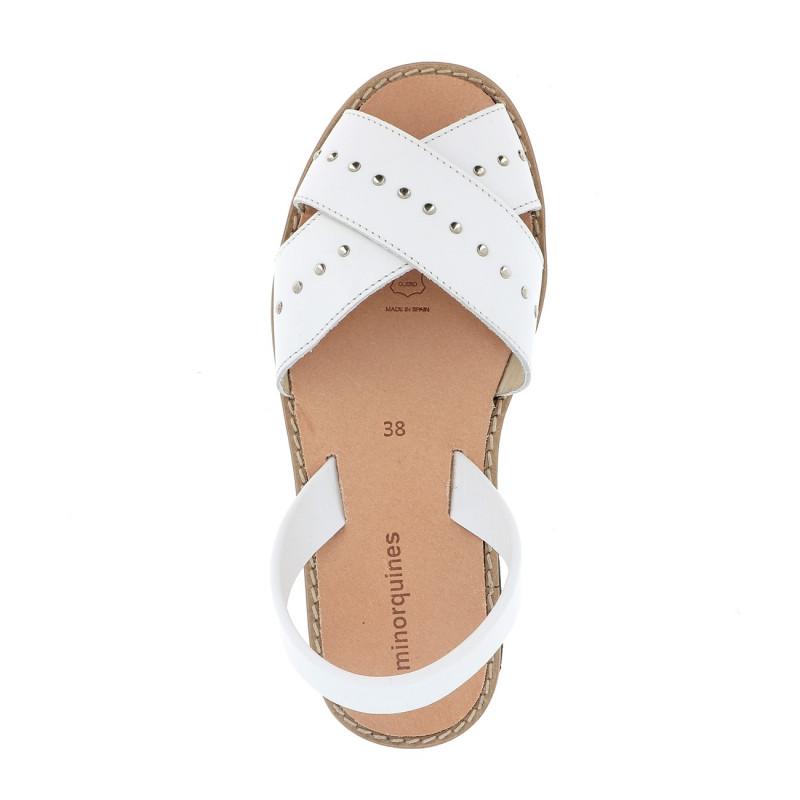 En Avarca Blanco Rock Cuir Sandales Pour Femmes Blanc SMLjzpGUqV