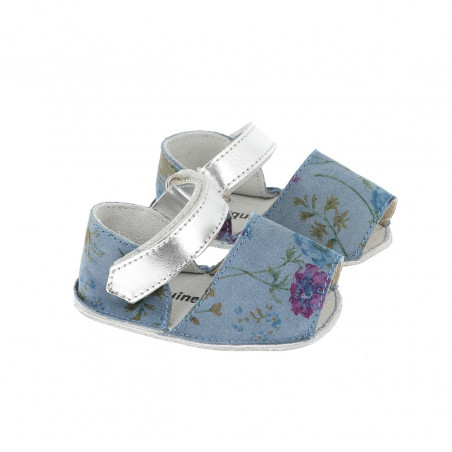 Frailera Baby Flowered Leather Blue
