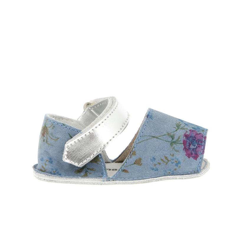Frailera Baby Cuir Fleuri Bleu