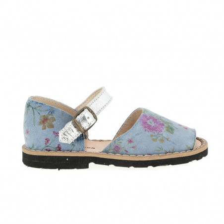 Frailera Buckle Blue Flowered Leather