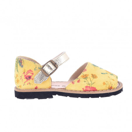 Frailera Buckle Yellow Flowered Leather