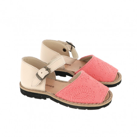 Frailera Buckle Embroidered Canvas Coral