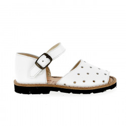 Frailera Buckle Leather Blanco Drilled