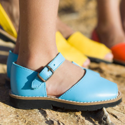 Frailera Buckle Leather Aqua