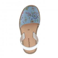 Avarca Blue Flowered Leather