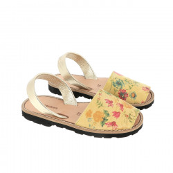 Avarca Yellow Flowered Leather