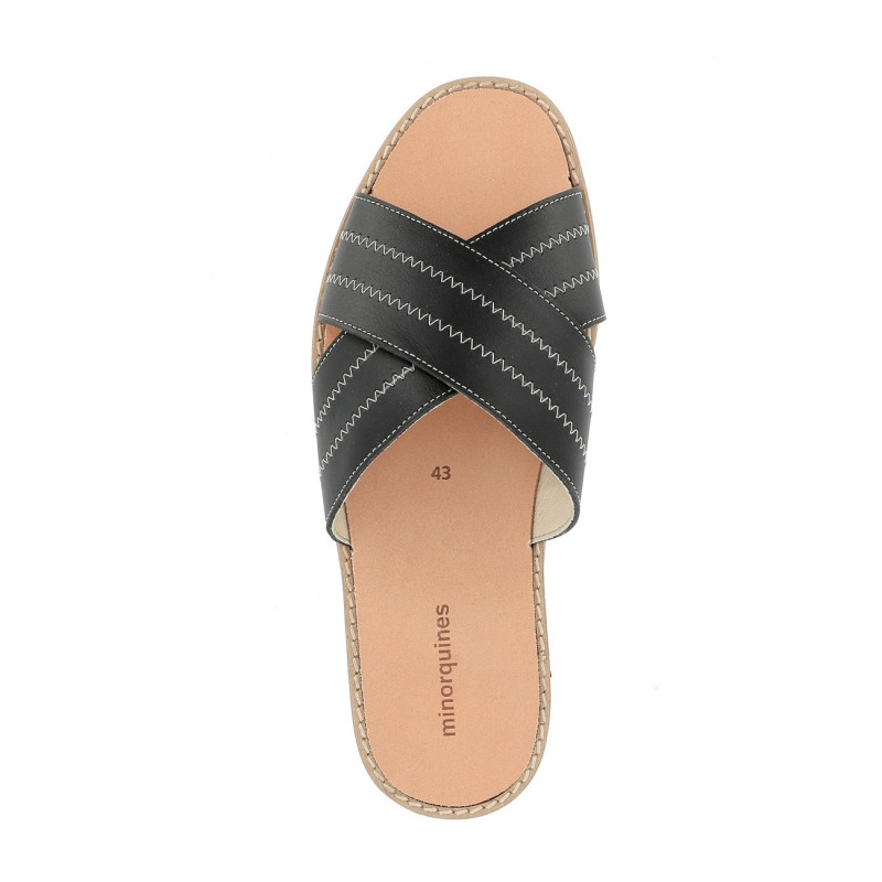 Avarca Mule Leather Negro