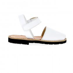 Avarca Velcro Cuir Blanco