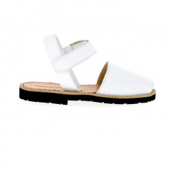 Avarca Velcro Leather Blanco
